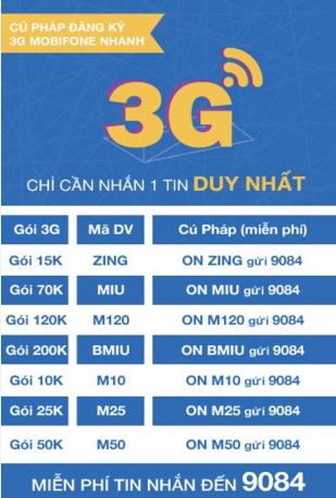 Gói cước 3G Mobifone