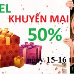 Khuyến mãi 50% thẻ nạp Viettel ngày 15 – 16 tháng 12/2015.
