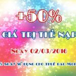 Mobifone khuyến mãi 50% giá trị thẻ nạp ngày 02/3/2016