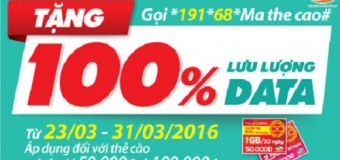 Khuyến mãi 100% thẻ nạp data Viettel.