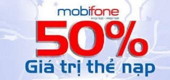 Mobifone khuyến mãi 50% giá trị thẻ nạp ngày 27/4.