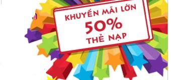 Khuyến mãi 50% giá trị thẻ nạp Mobifone ngày 16/04