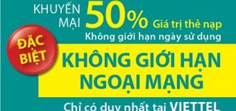 Viettel khuyến mãi 50% giá trị thẻ nạp toàn quốc ngày 16/06