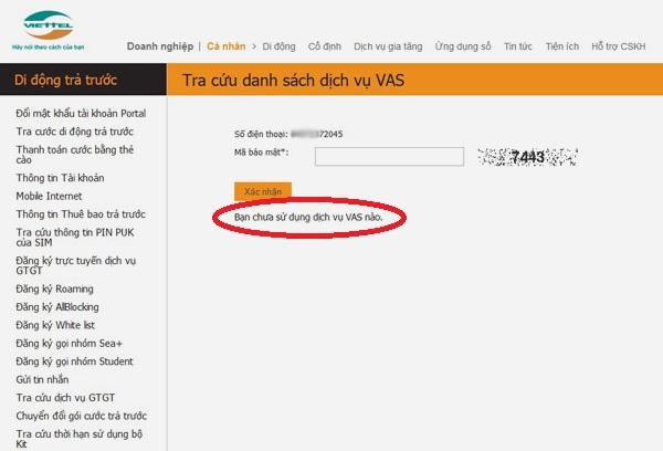 Kiểm tra dịch vụ Viettel đang dùng