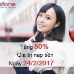 Khuyến mãi 50% thẻ nạp Mobifone ngày 24/2