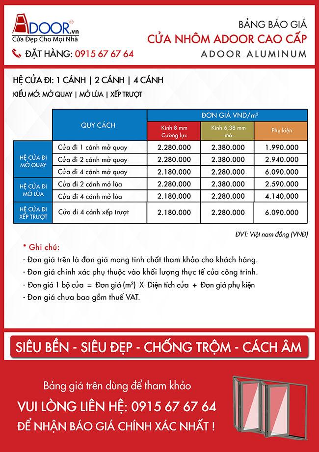 Bảng báo giá cửa nhôm Xingfa Đà Nẵng