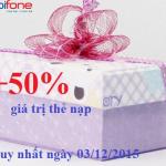 Khuyến mãi 50% thẻ nạp cho thuê bao Mobifone ngày 3/12