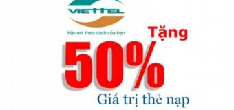 Viettel khuyến mãi 50% giá trị thẻ nạp đầu năm 2016.