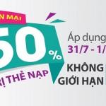 Viettel khuyến mãi 50% giá trị thẻ nạp trong 2 ngày 31/7 – 1/8