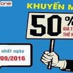 Mobifone khuyến mãi 50% giá trị thẻ nạp ngày 2/9