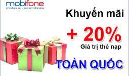 Mobifone khuyến mãi 20% thẻ nạp toàn quốc ngày 6/6