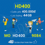 Đăng ký gói cước 4G HD400 Mobifone nhận 44GB data tốc độ cao