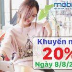 Chương trình khuyến mãi 20% thẻ nạp Mobifone ngày VÀNG 8/8/2018