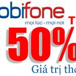 Ngày vàng, Mobifone khuyến mãi 2/9 tặng 50% giá trị thẻ nạp ngày 31/08/2018