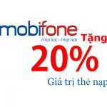 Mobifone khuyến mãi 20% ngày 22/08/2018