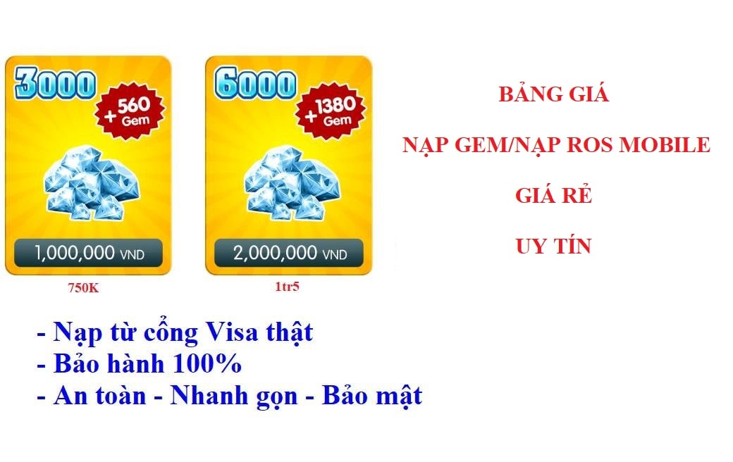 Nạp Rules Of Survival, Nạp Ros mobile, Nạp Gem