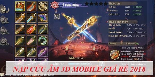 Nạp Cửu Âm 3D Mobile giá rẻ