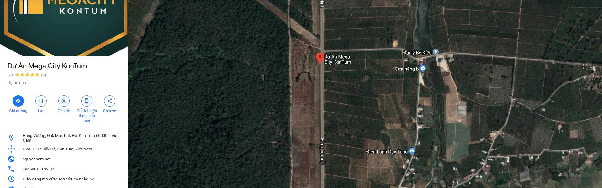 Vị trí dự án Mega City Kon Tum