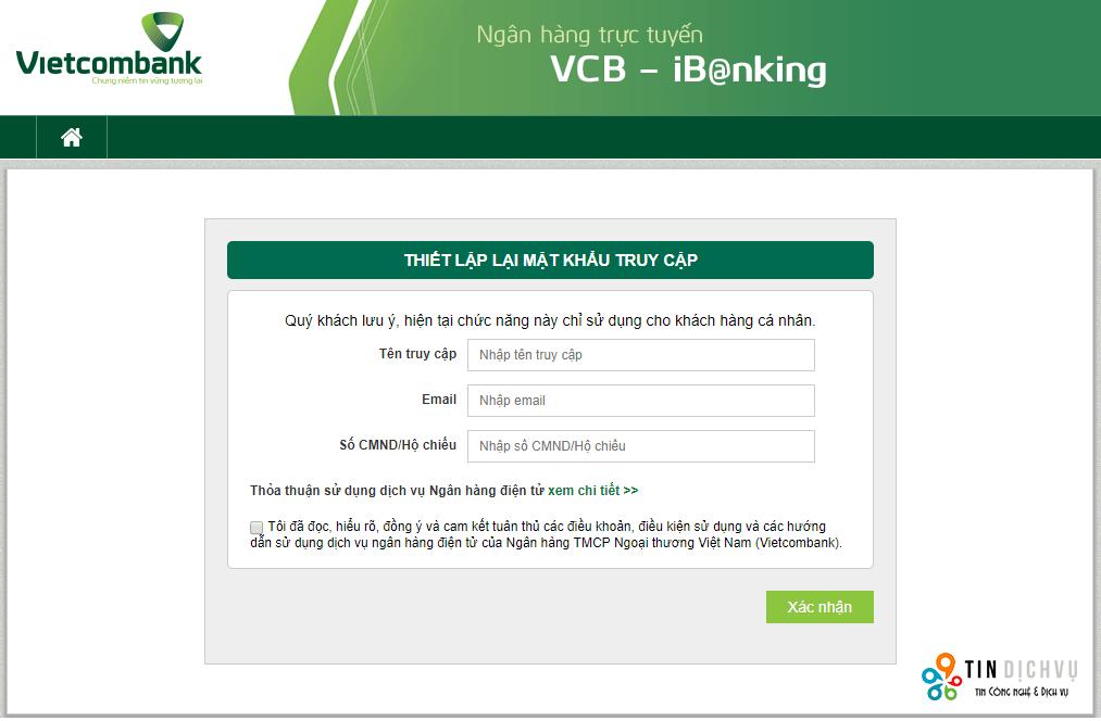Quên mật khẩu internet banking vietcombank phải làm gì?